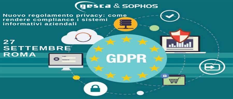Evento Gesca Sophos sul GDPR 2018